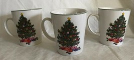 """NOEL MORNING"" Christmas TREE Gibson China Set of 3 Mugs Cups Holiday Ta... - $327,10 MXN"