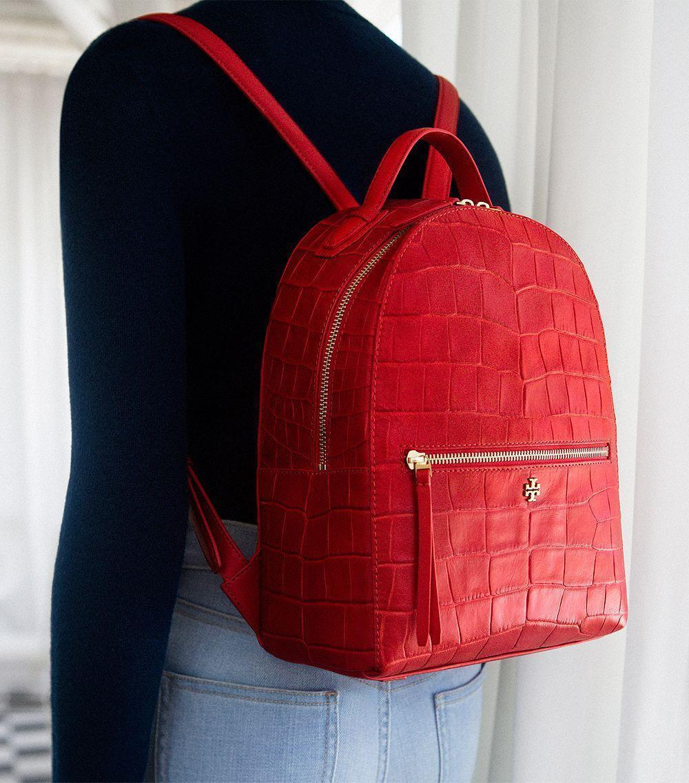 2d29b0f796f NWT 100% Authentic Tory Burch Croc-Embossed Mini Backpack in Kir Royale    495