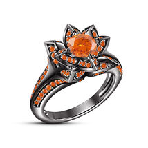 Flower Style Engagement Ring In Orange Sapphire 18k Black Gold Finish 92... - $83.99
