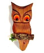 Mid-Century Owl Carved Wooden Wall Hanging Orange Felt Eyes Vintage 1960s - $47.51