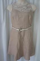 Anne Klein Petite Dress Sz 14P Chino Neutral Sleeveless Business Cocktai... - $59.35