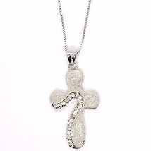 925 silver necklace, Venetian Chain, Pendant Necklace Cross Satin, Zirconia image 2