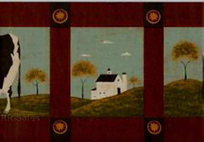 57 Warren Kimble Holstein Cows Folk Art Country Landscape Norwall Wallpaper Border
