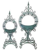 Set of 2 Round Plant Stands with Removable Metal Trays (Verdi Green) - $379.95