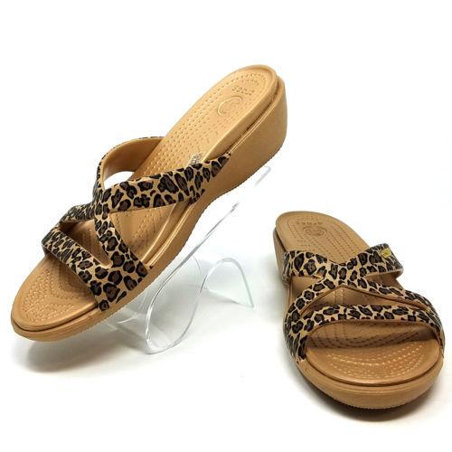 10b8f0ea6193 12. 12. Previous. Crocs Patricia II Slip On Leopard Print Strappy Wedge  Flip Flop Sandals Women 7M