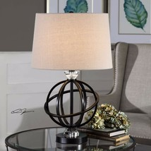 ARMILLA MODERN GLOBE SHAPE METAL CRYSTAL DETAIL TABLE LAMP LIGHT UTTERMOST - $189.20