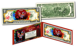 YEAR of the ROOSTER - Chinese Zodiac Official $2 U. Bill RED POLYCHROME ... - $13.06