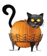 Collections Etc Black Cat Pumpkin Holder With Light Up Eyes - 3 PC - £26.84 GBP