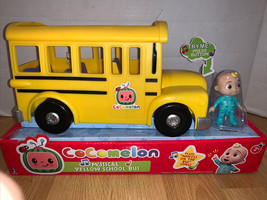 Cocomelon Musical Yellow School Bus Plays Music JJ Toy Figure In Hand Fast Ship! - $39.59