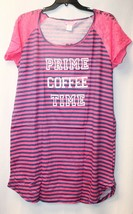 NEW WOMENS PLUS SIZE 3X PINK PRIME COFFEE TIME SLEEPSHIRT NIGHTGOWN LACE... - $14.80