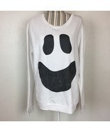 Junior's Halloween White Ghost Face Crewneck Pullover Sweater Size XL Co... - $11.29