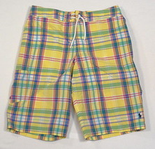 Polo Ralph Lauren Yellow Plaid Brief Lined Swim Trunks Youth Boys Large L 14/16 - $44.54