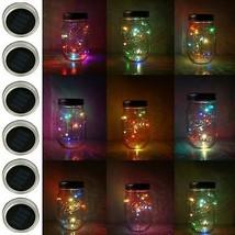 6 Pack Mason Jar Lights, 10 LED Solar Colorful Flicker Fairy String Lights Lids - $53.87