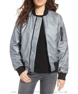 Hudson Jeans Women's Gene Puffy Bomber, Dusted Silver Size XS - $158.39