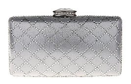 New Rhinestone Quilted Clutch Evening Bag Wedding Package 2-Silver