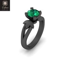 Solid 925 Sterling Silver 1.20Ct Solitaire Green Emerald Ring Petal Desi... - $99.99