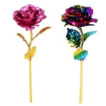 Golden Rose Flower Romantic 24K Plated Long Stem Gift Foil Home Wedding ... - $5.89