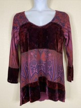 Live And Let Live Womens Plus Size 2X Purple Paisley Velvet & Knit Tunic... - $19.80