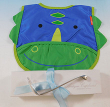 Dinosaur Child Baby Infant Spoon and Bib Gift Set 2pc Sterling Silver Nessie - $195.00