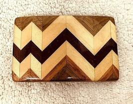 Older Wood Inlay Mosaic Belt Buckle w Brass Ampersand Kalamazoo MI T110 - $36.14