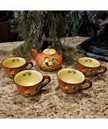 RARE Find 5 Pc. Maxcera Orange Rooster Teapot/Coffee Pot & XL Coffee Mug... - $109.95