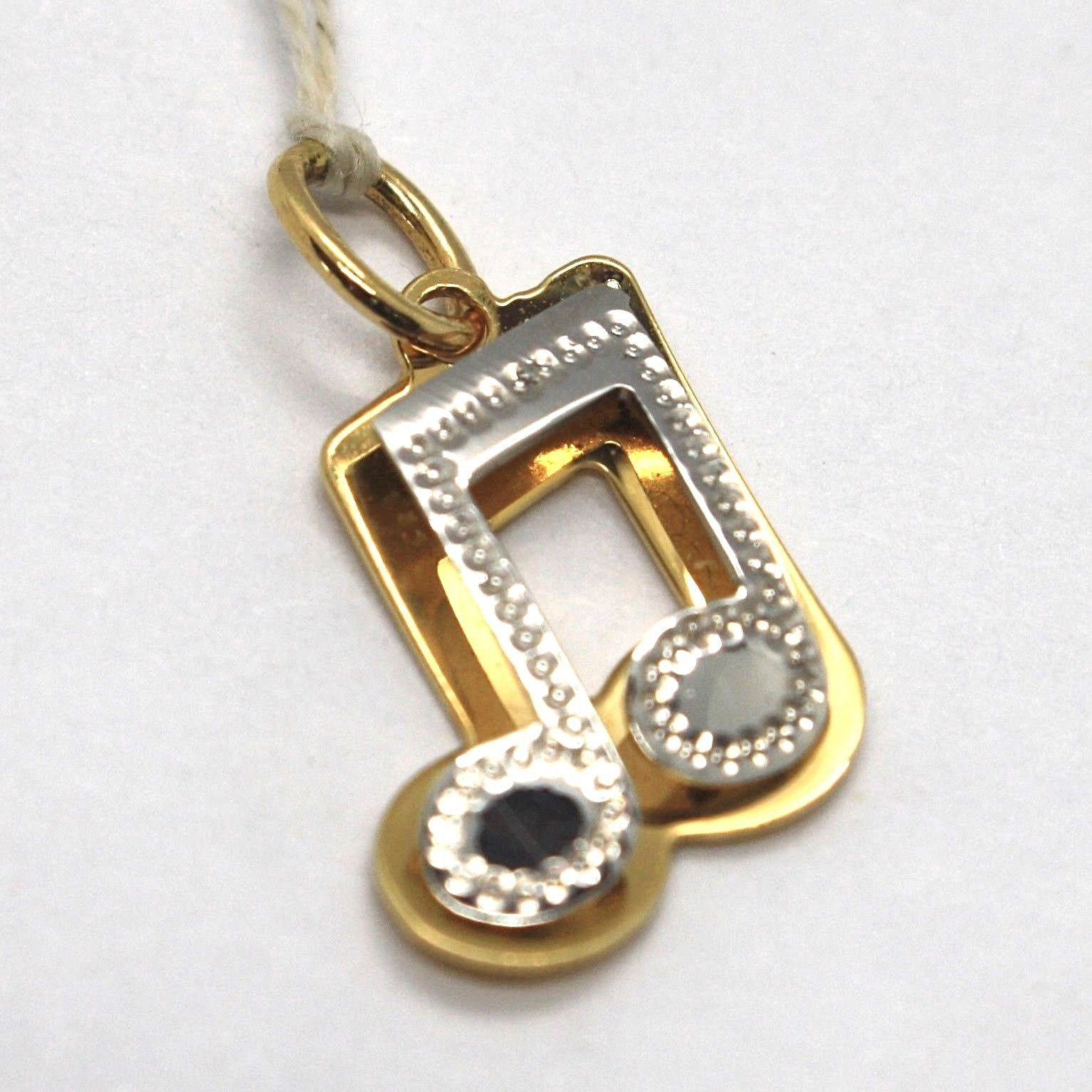 YELLOW GOLD PENDANT WHITE 750 18K, MUSICAL NOTE, MUSIC, MADE IN ITALY
