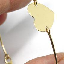 18K YELLOW GOLD BANGLE MINI BRACELET, SEMI RIGID, FLAT HEART, MADE IN ITALY image 3