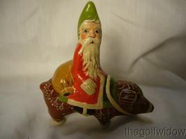 Vaillancourt Folk Art Santa on a Gingerbread Pig  Signed by Judi Vaillancourt image 1