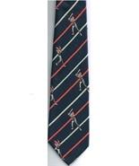 Baseball Necktie Skinny Navy Blue Red White Stripes Ball Player Bat 100%... - $15.76