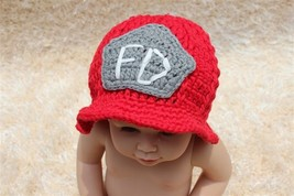 New Handmade Knit Baby Child Kids Firemen FD Hat  Beanie Newborn Photo P... - $7.99