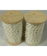 2 Rolls Sugar Paper Los Angeles Beige & Silver Twine 45 Feet 15 yd Per R... - $11.83
