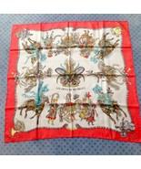 """Hermes Scarf LES FETES DU ROI SUN 90 cm Silk Red Carre Shawl Stole 35"""" - $281.05"""