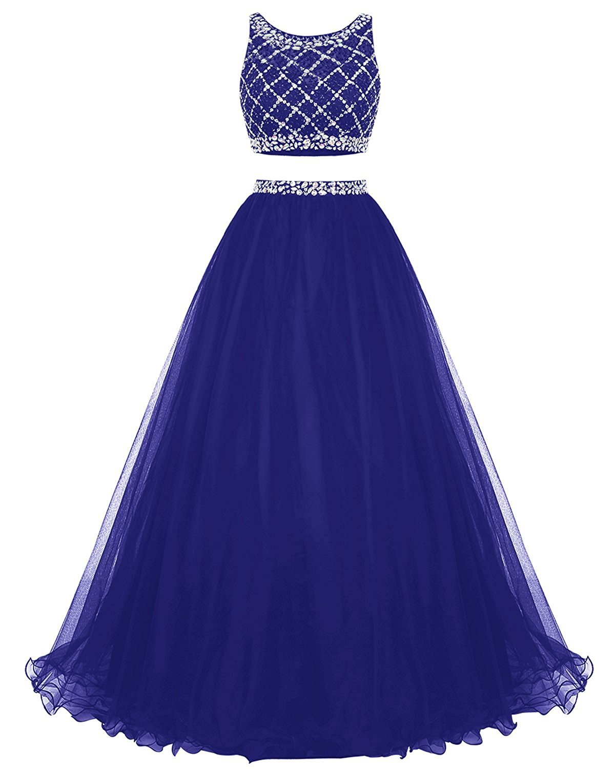 Primary image for Long Tulle Prom Dress Two Piece Beaded Party Dress Bridesmaid Dress Royal Blue