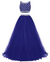 Long Tulle Prom Dress Two Piece Beaded Party Dress Bridesmaid Dress Roya... - $154.00