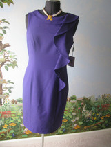 New NWT Calvin Klein Sleeveless  Ruffle Knee Collar Sheath Dress Purple ... - $64.34