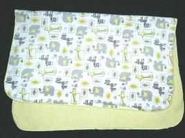 Just Born Jungle Baby Blanket Gray Yellow White Sherpa Giraffe Elephant ... - $16.55