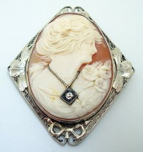 Art Deco 14k Gold Filigree Genuine Natural Shell Cameo and Diamond Pin (... - $425.00