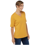 Denim & Co Large Essentials Perfect Jersey V-Neck Elbow Sleeve Top Sunse... - $13.99