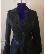 Womens black cotton trench coat - $60.00