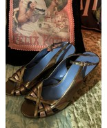 BISOU BISOU by MICHELE BOHBOT  Sassy Gold Peep Toe Leather Heels Size 7 M - $14.85