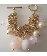 Bracelet J Crew Gold Chains Rhinestones Pearls Pink Beads  - $21.99