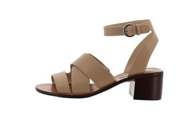 Marc Fisher Leather Block Heeled Sandals Omela Camel 8M NEW A352041 - $81.16