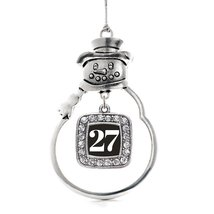 Inspired Silver Number 27 Classic Snowman Holiday Decoration Christmas T... - $14.69