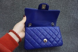 AUTH Chanel RARE ELECTRIC BLUE Quilted LAMBSKIN Large Mini 20CM Flap Bag GHW  image 6