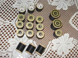 VTG J&P Coats Thread-Wooden Spools-#40 & #50-Black Cotton-Lot of 18-1950's - $10.00
