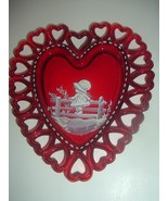 Westmoreland Ruby Glass Heart Dish Hand Painted Mary Gregory Design - $18.74