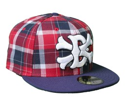 Dissizit Dx11 Bones Navy Red Plaid New Era 59FIFTY Fitted Baseball Hat Cap NWT image 2