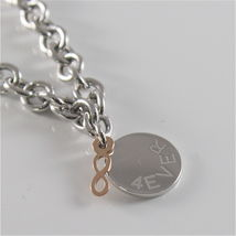 925 RHODIUM SILVER JACK&CO BRACELET WITH 9KT ROSE GOLD INFINITY  MADE IN ITALY image 4