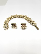 Vintage Gold Tone Bracelet and Screw On Earrings 1950s Set - $13.50