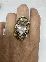 Vintage Rose Quartz Ring 925 Sterling Silver Size 9 - $153.45